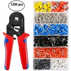 Crimper Plier Set, 0.5-10mm2 Self-adjustable Ratchet Wire Crimping Tools with 1200 Wire Terminal red as picture