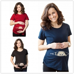 Fashion Pregnant Casual Tops Gravida Maternity Loose T-Shirts Pregnancy Fitting Clothes Black M