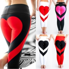 Women Special Design Love Yoga Leggings Heart Booty Pants Running Tights Crop Workout Pants s Black & White