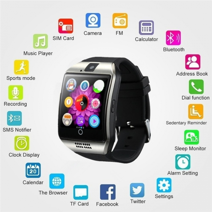 New Smart Watch Q18 With Camera facebook Sync SMS MP3 Smartwatch Support Sim TF For IOS Android white Q18
