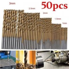 50pcs Titanium Coated HSS High Speed Steel Drill Bit Set Tool