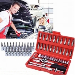 46pc 1/4 Car Mechanics Repair Tool Set Kit Sockets Wrenches Bits Ratchet Pliers Hand Tool