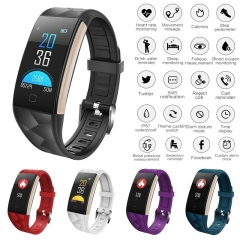 T20 Waterproof Colorful Screen Smart Watch Bracelet with Heart Rate and Blood Pressure Monitoring purple as picture