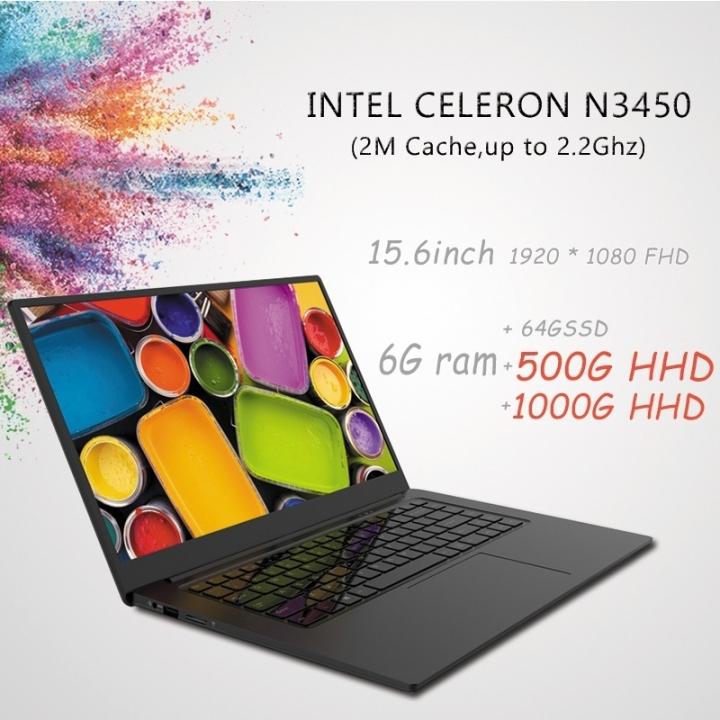15.6inch 6G RAM 64GSSD&500G/1000G HDD Laptop Narrow Bezel N3350 Quad Core 1920*1080 FHD Windows 10 white 64G SSD+500G HDD