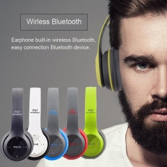 P47 Headband Foldable Stereo Bluetooth  Wireless Headset Noise Cancelling Headphones red
