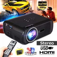 Full HD 3000 Lumens Portable LED Projector Home Theater Cinema LCD Wireless  Multimedia Beamer black one size
