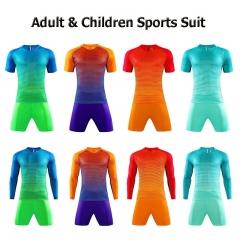 2 Pcs/Set  Football Training Suits Short Sleeve Quick-drying Soccer Shirt & Shorts Soccer Jerseys Kid-XS orange and purple