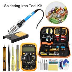 Pro 60W Electric Soldering Iron Multimeter Tool Set Adjustable Temperature Welding Kit W/ Kit Bag