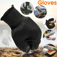 1pair Safety Cut Proof Stab Resistant Stainless Steel Wire Metal Mesh Butcher Gloves white one size