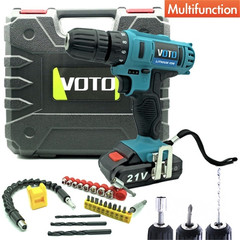 VOTO Cordless Screwdriver Rechargeable hand drill 21V Red--26 Pcs Accessories Plastic Carrying Case
