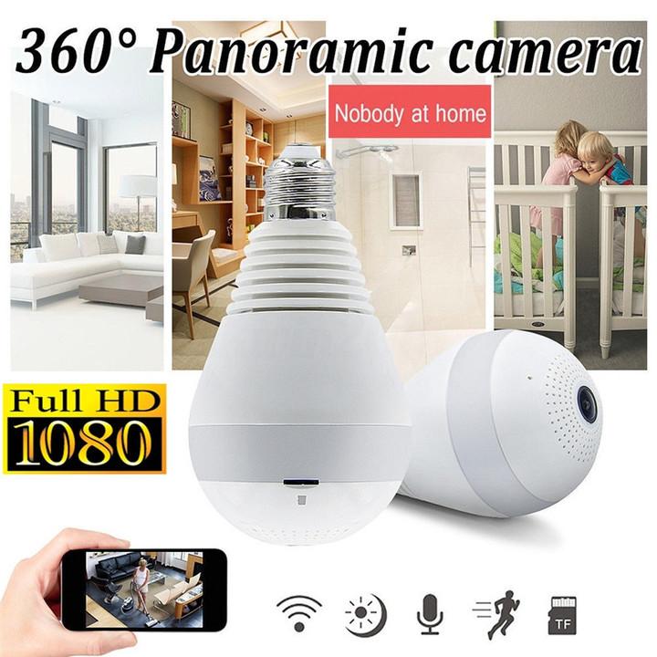 360° Panoramic HD 1080P Wireless Fisheye Security Hidden Camera LED Light Bulb white 1080 P