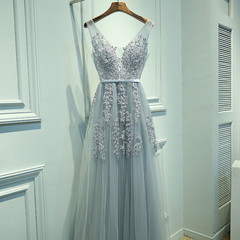 Charming Sexy Women Dress A-Line V-Neck Sleeveless Elegant Embroidery Long Prom Dress Evening Dress s Grey