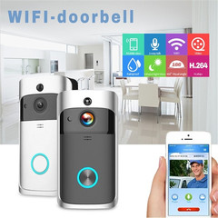 Smart Intercom 720P HD  WIFI Wireless Door Bell Night Vision Video Camera Peephole Viewer Ring Bell white