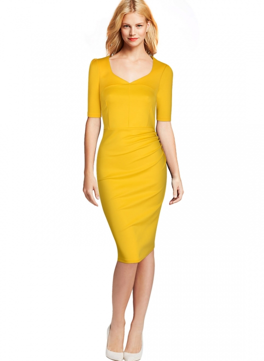 2aacce6b9c Pure Color Sheath Knee-Length Short Sleeve Cocktail Office Lady Party Midi Pencil  Women Dress