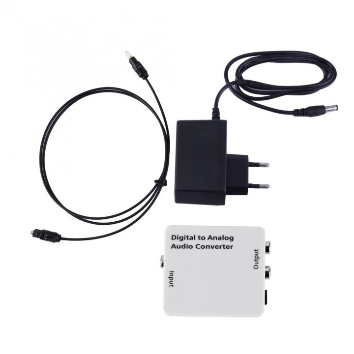 White Digital Optical Toslink Coaxial  Signal to Analog Audio Converter Adapter