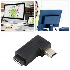 Black Mini 5 Pin Male to USB Micro 5 Pin Female 90 Degree Angle Adapter Converter