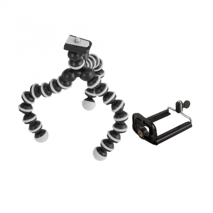 Octopus-shaped Flexible Tripod Bracket Holder Stand Mount for Cell Phone black&white 175*33*33mm