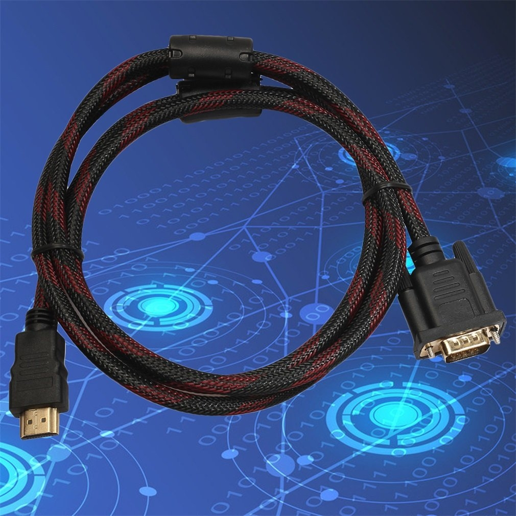 1.5M Length HDMI Male To VGA Data Connector Adapter Converter Cable Black 4