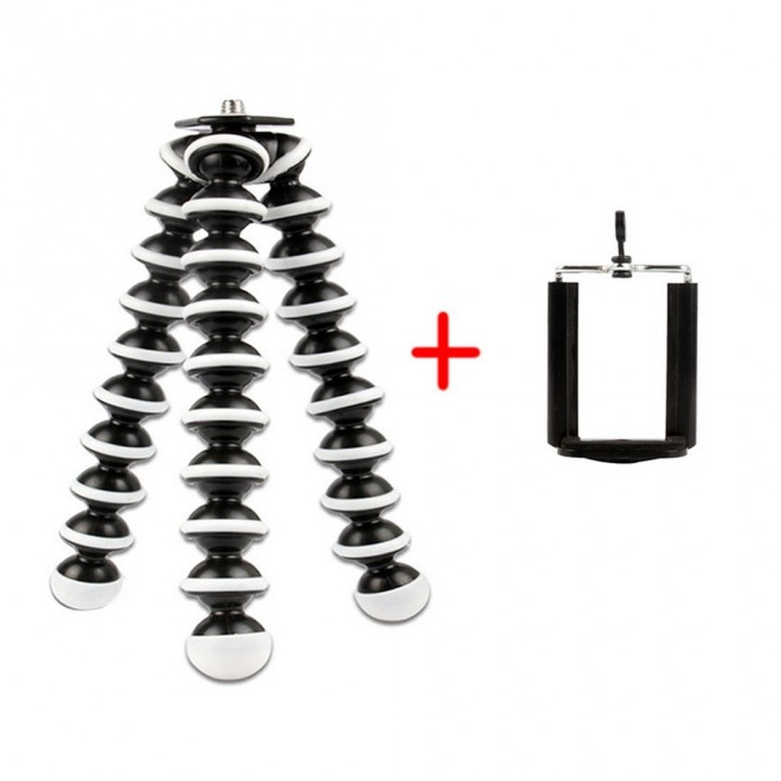 Flexible Tripod Camera Camera Camcorder Holder Stand With Phone Clip Adapter black&white 165*35*35mm