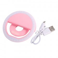 SG-11 Mini Rechargeable Phone LED Selfie Lamp Ring Light Night Using Light pink 8*3