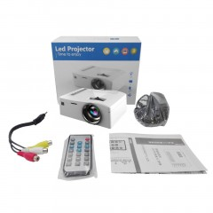 Video Projector UC18 1080P HD Home Entertainment LCD Theater USB HDMI Project white