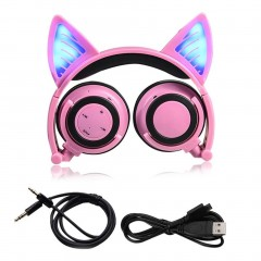 Cat Ear Bluetooth Headphone Foldable Cosplay Stereo Headset Earphone With Mic pink