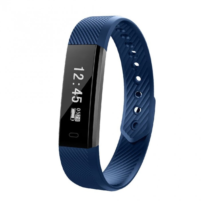 Bluetooth Smart Band Heart Rate Monitor USB Rechargeable Watch Sports Records dark blue 54.3*15.5*10.2mm