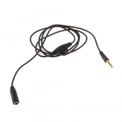 3.5mm M/F 1M Stereo Headphone Audio Extension Cord Cable with Volume Control black 1m