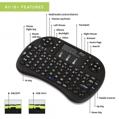 Rii i8+ 2.4GHz Wireless Keyboard Touchpad Combo LED Backlit Multimedia Keys