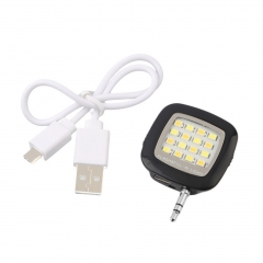 Mini Portable Smart LED Camera Fill-in Flash Selfie Light For Cellphone black 3.7*3.7*0.8 cm