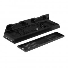 Vertical Cooling Fan Cooler Stand With Dual Charging Station For PS4 Slim black