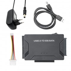 USB 3.0 To IDE/SATA Converter External Hard Drive Adapter Kit Plug & Play Black