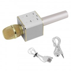 Q7 Handheld Mobile Phone KTV Home Mini Karaoke Wireless Bluetooth Microphone golden 13*10*7cm