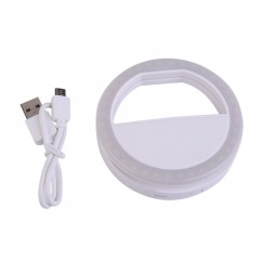 Smart Phone Fill Light Rechargeable Clip-On Luminous Phone Ring For Iphone white