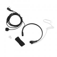 2PIN Security Throat Vibration Mic Headphone Headset Earpiece For Talkie Black