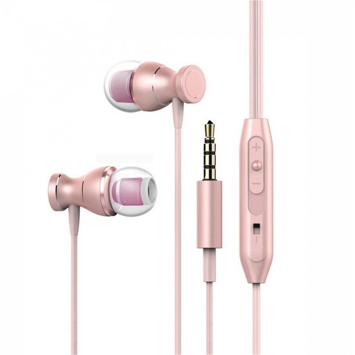 Professional Magnetic Design 3D Stereo Surround Sound Earphones For phone rose gold rose gold