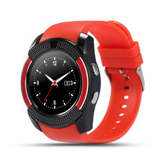 V8 Sport Smart Watch Support SIM TF Card Clock Camera Call Step Count Sleep Remind For Android Phone red one size