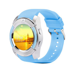 V8 Sport Smart Watch Support SIM TF Card Clock Camera Call Step Count Sleep Remind For Android Phone blue one size