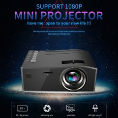 UC18 Portable Projector With HDMI TF Card USB LED For Home Theater EU Plug Black