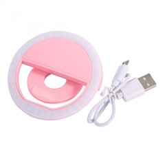 SG-11 Mini Rechargeable Phone LED Selfie Lamp Ring Light Night Using pink 8*3