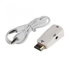 HDMI Male To VGA Female Converter Box Adapter With Audio Cable For PC HDTV