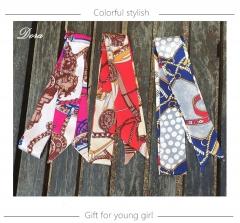 Fashion Women Elegant small Imitated Silk Scarf Head Neck Hair Tie print narrow scarf bag handle X11