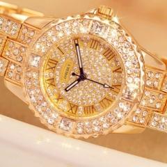 OMEDLY Women's fashion brand rhinestone watch ladies classic luxury quartz watch gold Rose gold