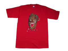Cotton T-Shirt with Cheetah Print X-LARGE Red