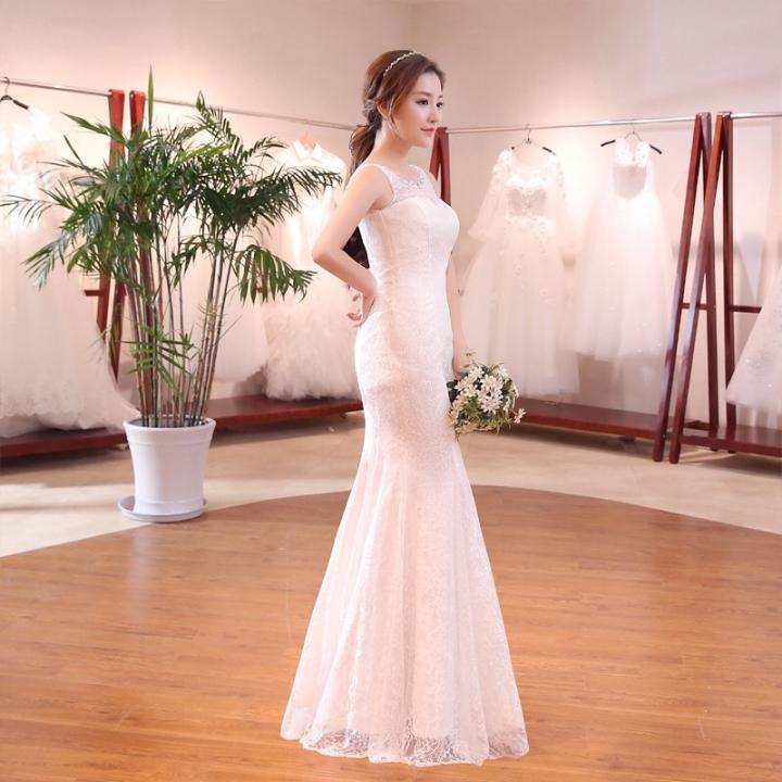 2018 New Style Wedding Gown Dress Fishtail Flat Shoulder Slim Waist S