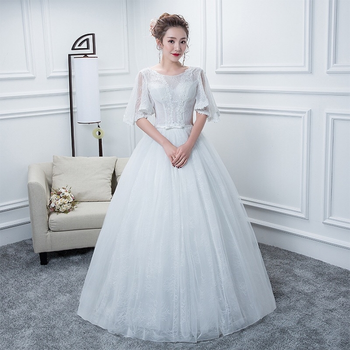 Fantasy Top Grade Le Round Collar Wedding Dress Belly Thin Arm Covered Floor Length Gown