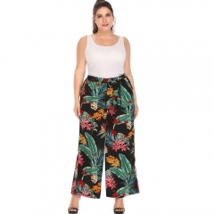 Europe and the United States large size women's printing pants fat MM fashion culottes black xl
