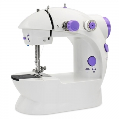 Mini hand sewing machine with double speed LED lamp and multi-function automatic home sewing machine white handheld