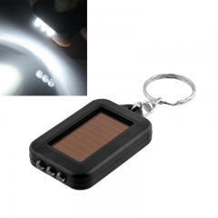 1Pcs Mini Black 3 LEDs Solar Power Lamps Flashlight Torch with Keychain BLACK outdoors