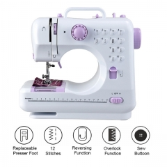 Household small 12-pin mini desktop multi-function sewing machine white portable